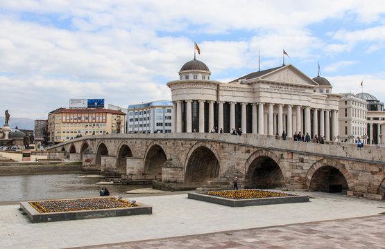 Macedonian archaeological museum in Skopje and Stone bridge