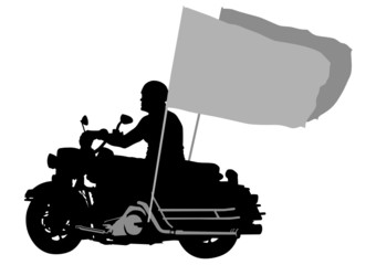 Wall Mural - Motorcyclist whit flag