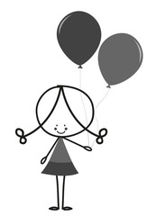 Doodle little girl carrying balloons