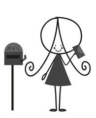 Doodle Little girl Sending Letter
