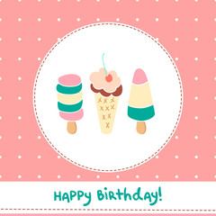 Greeting card with cute ice creams on polka dot background.