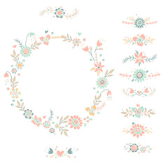 Decorative floral collection. Cute vector compositions.