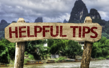 Helpful Tips sign with a rural background