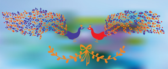 Banner with peacocks and floral element - design of background