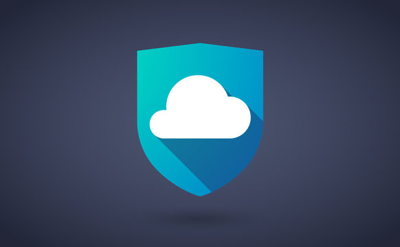 Long shadow shield icon with a cloud