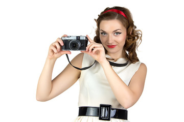 Photo of the cute woman with camera