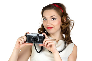 Photo of the smiling woman with camera