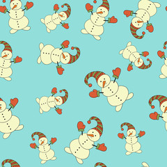 Christmas background, seamless, doodles.