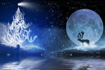 Winter night with christmas tree and reindeer in the moonlight