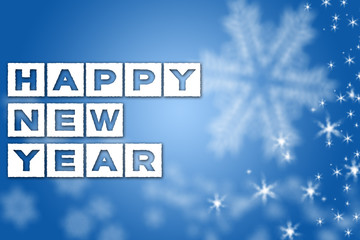 Happy New Year greeting blue background