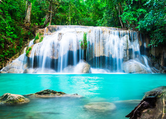 Wall Mural - Waterfall in the Jungle at Kanchanaburi Province, Thailand