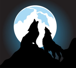 Wolves howl background