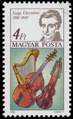 Stamp printed in Hungary shows Luigi Cherubini