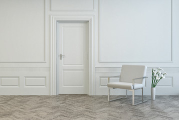 Conceptual White Chair and Vase Near Single Door