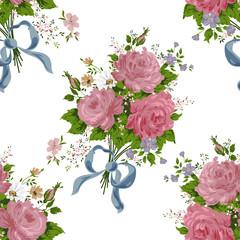 vintage rose, flower pattern vector on white background