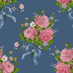 seamless vintage rose pattern on navy background