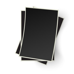 Pile of old photo frames isolated on white