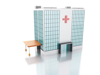 3d illustration. Hospital building on isolated white background