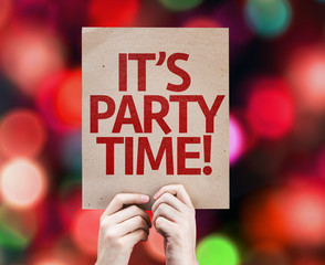 It's Party Time written on colorful background