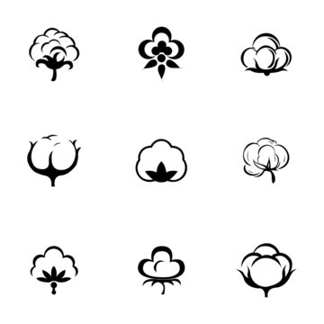 Vector cotton icon set