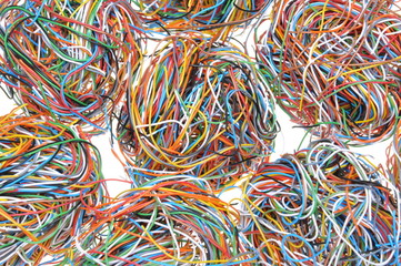 Balls of tangled wires isolated on white background