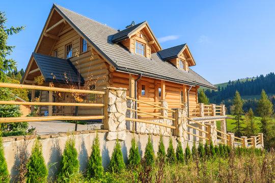 Wooden house in autumn season, Pieniny Mountains, Poland
