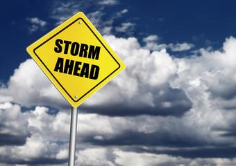 Storm ahead road sign
