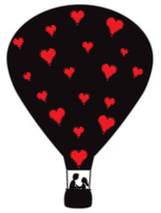 Hot Air Balloon Silhouette With Hearts