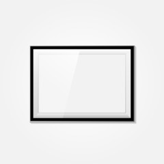 Realistic blank frame on a white background.