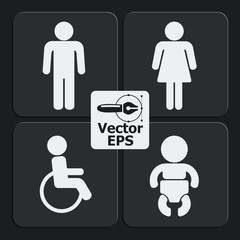 Set of 4 restroom web and mobile icons. Vector.