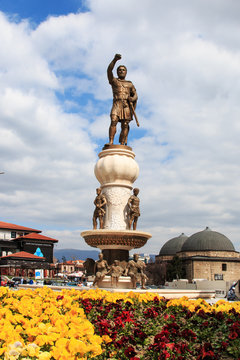 Statue of Macedonian soldier in Skopje, Macedonia