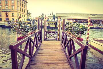 Wooden moorage in Venice