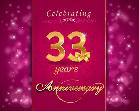 33 year celebration sparkling card, 33rd anniversary