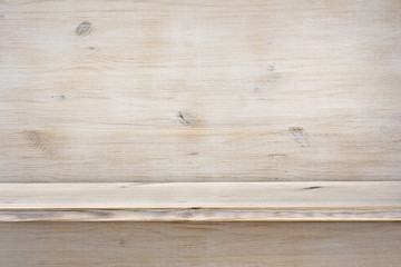 Empty wooden shelf on wood texture background