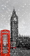 London Big Ben und Telefonzelle mit Schneeflocken