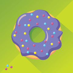 Violet donut with colorful sugar balls