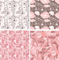 set of 4 seamless floral backgrounds