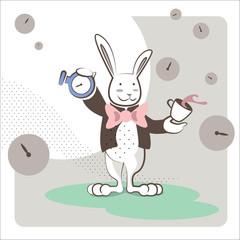 White Rabbit stands with a clock and a cup of tea