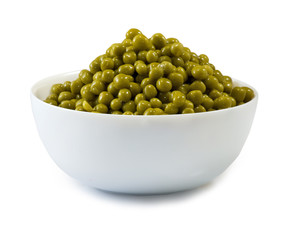 Isolated image of bowl with peas on a white background