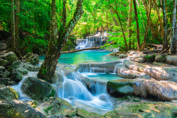 Wall Mural - Beautiful waterfall in Thailand jungle