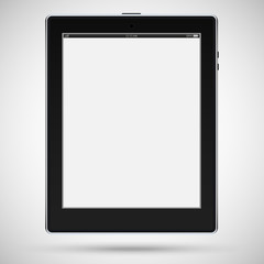 Realistic detailed black tablet with touch screen isolated