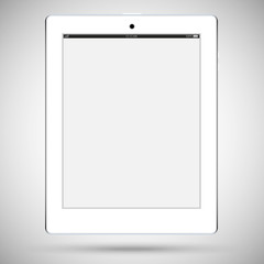 Realistic detailed white tablet with a touch screen isolated