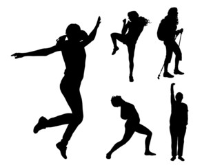 Vector silhouettes of different women.