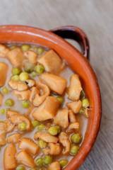Spanish Tapas, Squid with green peas