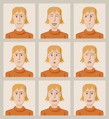 Facial expressions of a young man. Flat