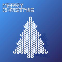merry christmas blue wool texture tree vector