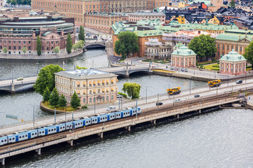 Ppanorama of the Old Town  in Stockholm, Sweden