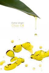 Beauty Treatment. Olive Oil Drops Isolated on White