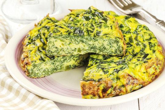Homemade Italian spinach or Swiss chard frittata omelet