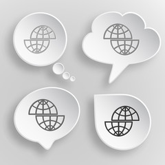 Shift globe. White flat vector buttons on gray background.